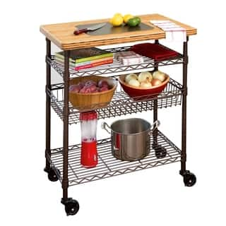 Seville Classics Kitchen Work Table Cart with Bamboo Top - Bronze|https://ak1.ostkcdn.com/images/products/13027843/P19769047.jpg?impolicy=medium