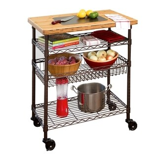 Seville Classics Kitchen Work Table Cart with Bamboo Top - Bronze