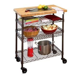 kitchen cart. Seville Classics Kitchen Work Table Cart with Bamboo Top  Bronze Carts For Less Overstock com