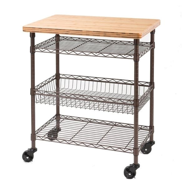 Shop Seville Classics Kitchen Work Table Cart with Bamboo ...