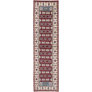 eCarpetGallery Royal Kazak Oriental Ivory/Red Wool Hand-knotted Runner Rug (2'8 x 10')
