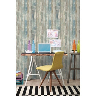 Roommates Peel and Stick Blue Distressed Wood Wall Decal