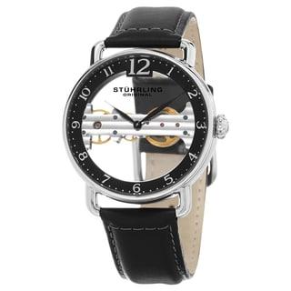 Stuhrling Original Men's Mechanical Leagacy Skeletonized Black Leather Strap Watch