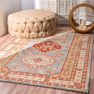 nuLOOM Oriental Microfiber Medallion Light Blue Rug (7'6 x 9'6)