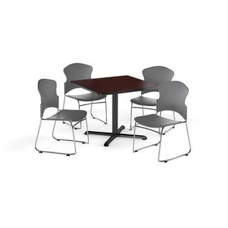 OFM Mahogany 42-inch X-style Base Round Laminate Table with 4 chairs