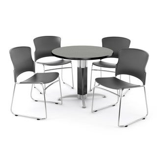 OFM Gray 42-inch Square Mesh Base Table with 4 Plastic Multi Use Chairs