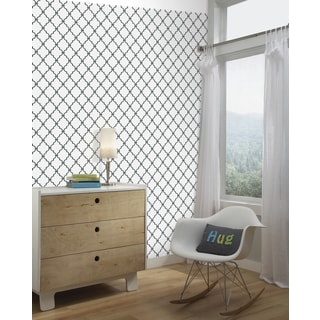 Modern Trellis Black Peel and Stick Wall Decor