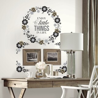 Roommates Vinyl Floral Wreath Quote Peel-and-Stick Giant Wall Decal