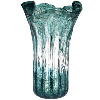 Teal/Gold Glass Vase