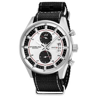 Stuhrling Original Men's Quartz Black and Grey Striped Nylon Strap Watch
