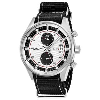 Stuhrling Original Men's Quartz Black and Grey Striped Nylon Strap Watch|https://ak1.ostkcdn.com/images/products/13028082/P19769437.jpg?impolicy=medium