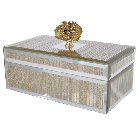 A&B Home striped Silver and Gold Mirrored Decorative Box
