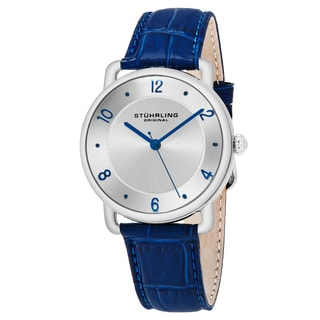 Stuhrling Original Men's Quartz Symphony Blue Leather Strap Watch