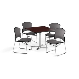 OFM Mahogany 36-inch Laminate Top Multi Purpose Table with 4 chairs