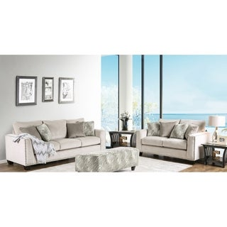Furniture of America Amelie Contemporary 2-piece Light Mocha Premium Fabric Sofa Set