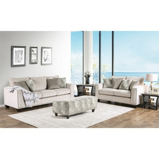 Furniture of America Amelie Contemporary 3-piece Light Mocha Premium Fabric Sofa Set