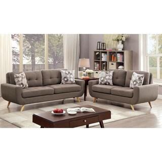 Furniture of America Merra Contemporary 2-piece Tufted Mid-Century Style Mocha Sofa Set