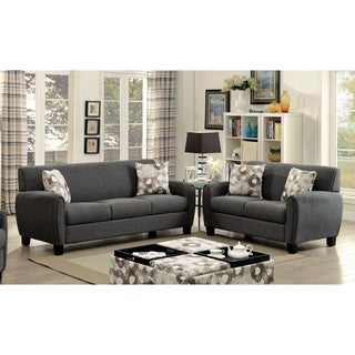 Furniture of America Giovanna Contemporary 2-piece Linen-like Upholstered Sofa Set