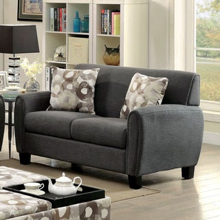 Furniture of America Giovanna Contemporary Linen-like Upholstered Loveseat with Pillows