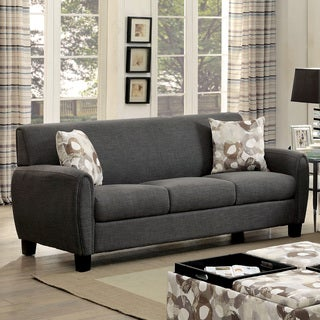 Furniture of America Giovanna Contemporary Linen-like Upholstered Sofa with Pillows