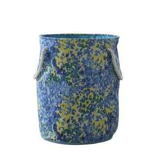 Blue and Green Rope Handle Round Hamper/ Tote