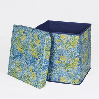 Blue and Green Collapsible Storage Ottoman