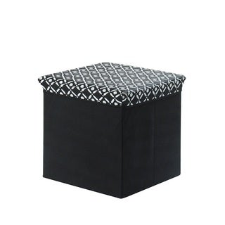 Black and White Collapsible Storage Ottoman