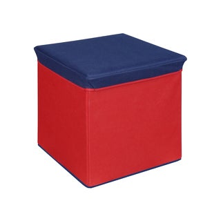 Red and Blue Collapsible Storage Ottoman