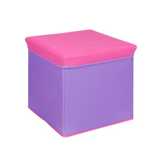 Pink and Purple Collapsible Storage Ottoman
