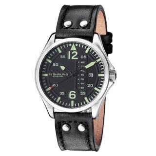 Stuhrling Original Men's Quartz Aviator Multifunction Black Leather Strap Watch
