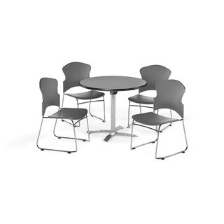 OFM Gray 42-inch Round Break Room Table with 4 chairs
