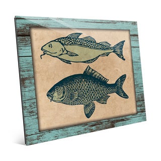 'Two Fishes on Teal' Glass Wall Art