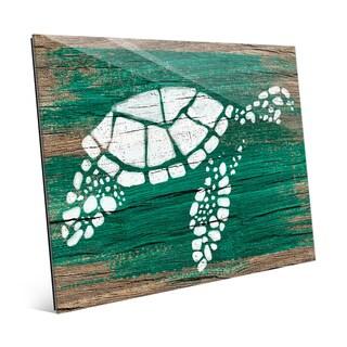 'Turtle on Emerald' Glass Wall Art