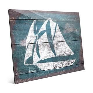 Sails and Seas' Teal Glass Wall Art