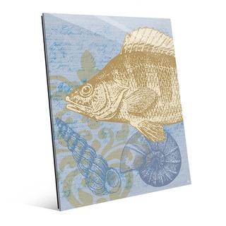 Damask Fish Light Blue Glass Wall Art