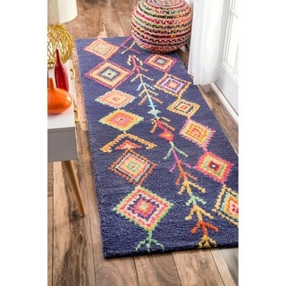 nuLOOM Contemporary Hand Tufted Wool Moroccan Triangle Navy Runner Rug (2'6 x 12')