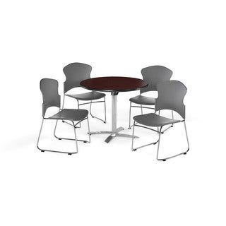 OFM Mahogany 42-inch Round Break Room Table with 4 chairs