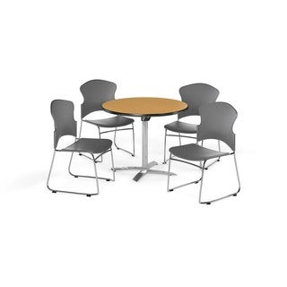 OFM Oak 42-inch Round Break Room Table with 4 chairs