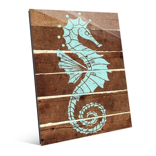 Seahorse Planks- Green' Glass Wall Art