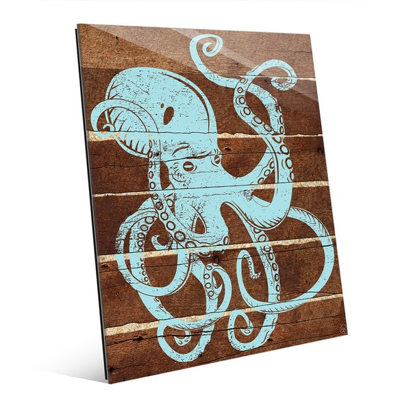 Octopus Planks' Blue Glass Wall Art