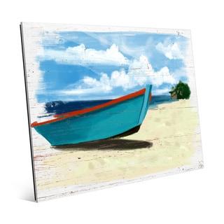Beached Boat' Glass Wall Art