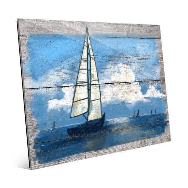 Sailing Away - Blue' Glass Wall Art