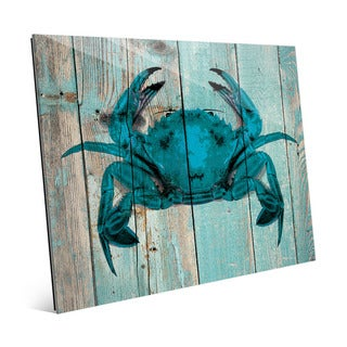 Crab on Sky' Multicolored Wood Plank Wall Art