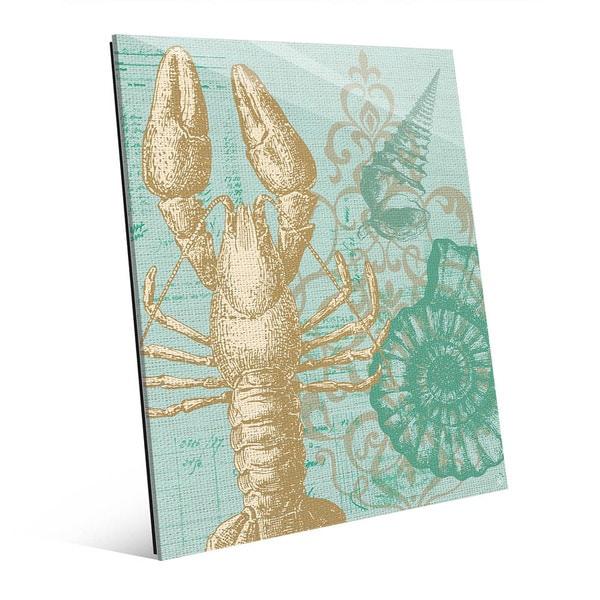 Damask Lobster Green Glass Wall Art