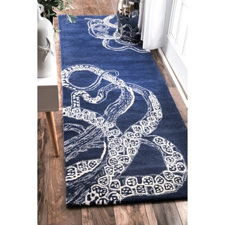 "nuLOOM Handmade Octopus Tail Faux Silk / Wool Runner Rug (2'6 x 8') - 2'6"" x 8' runner"