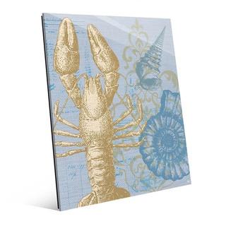 Damask Lobster Blue' Glass Wall Art