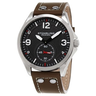 Stuhrling Original Men's Quartz Aviator Brown Leather Strap Watch