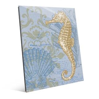 Damask Seahorse Blue Glass Wall Art