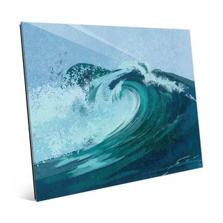 Cerulean Torrent Mist Multicolored Glass Wall Art