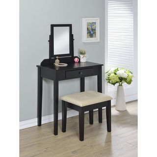 Lilette Espresso Wood and Tan Fabric Vanity and Stool